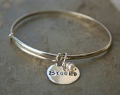 Solid sterling silver personalized womens bracelet