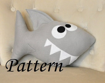 Shark Plush Pattern PDF Tutorial and Printable Templates -Chomp the Shark Pillow Pattern-