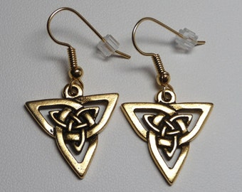 Celtic Knot Earrings - Triangular - 22K Gold Plated Pewter