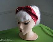 Red with White Polka Dots. The Rosie. Rockabilly - Pin up style Headband / Hair Scarf/ Hair Tie/ Neck Scarf.