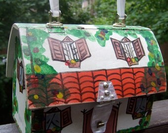 Whimsical Vintage Hand Painted House Box Bag