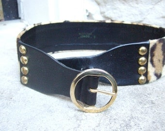 Stylish Retro Animal Print Wide Studded Belt c 1960