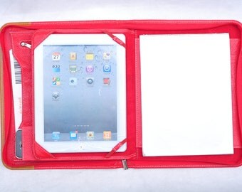 Item No: S1009 Top grain leather Multi-functional portfolio & case for iPad and Tablet PC in red and yellow