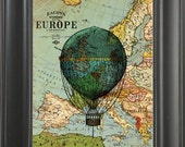 Blue balloon in Europe -printed on Map page. 250Gram paper.