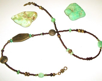 Ankle Wrap - Chrysoprase and Antique Brass