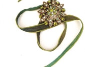 Silk Wrap Flower Rhinestone Brooch Bracelet with Green, Teal, Chartreuse wrap with Crown Charm by ZiLLAs QuEeN