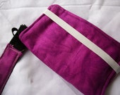 Cell Phone Wallet/Wristlet- Handmade- DARK PINK