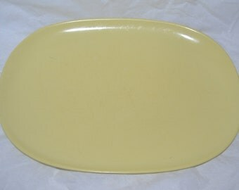 Vintage Texas-ware Platter Pale Yellow Melamine Melmac Serving Dinnereware Picnic Camping Dishes Collectible