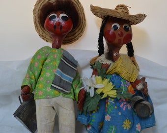 Vintage Mexican Dolls - Souvenir - Collectible - Set of Two