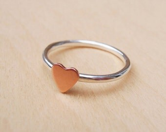 Silver Ring With Tiny Copper Heart