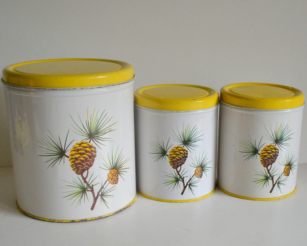 Metal Kitchen Canisters Vintage Pine Cone Tin Canisters Kitchen Metal Yellow Set Of 3