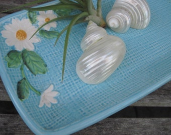 Vintage Ceramic Blue Rectangular Tray With Daisies Made in Japan