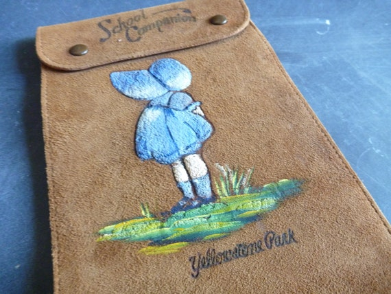 Vintage Yellowstone souvenir - school companion suede sketchbook