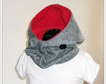 KapuzenLoop - gray-Heather/red, wool, fleece, polyester, button, one size