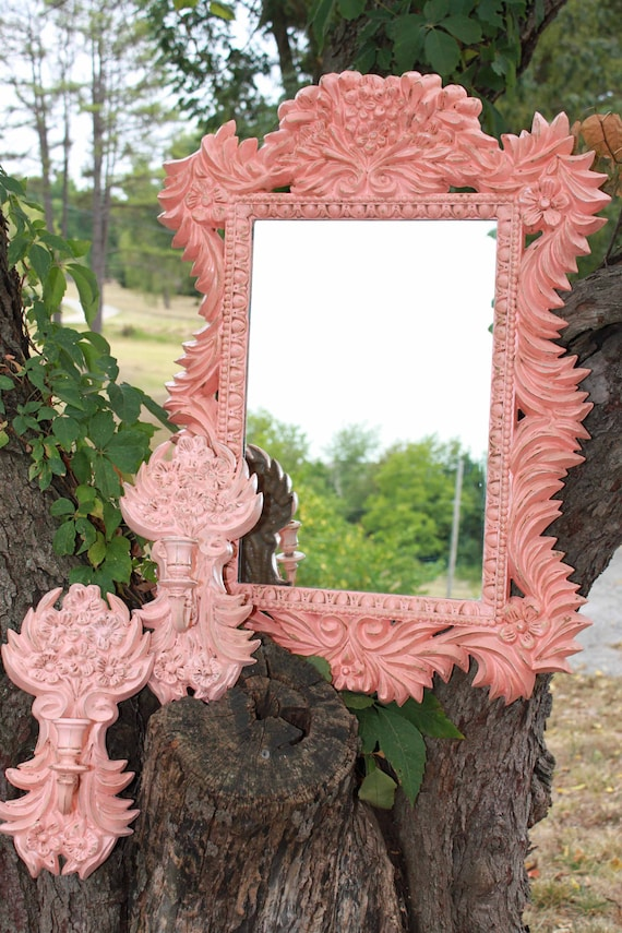 SALE-Vintage Coral Mirror and Sconces - Large Ornate Mirror - Ornate Sconces - Floral - Shabby chic - Victorian Chic - Hollywood Regency