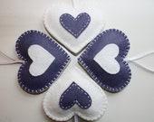 SALE 50% OFF  Lilac Heart Felt Ornaments - set of 4