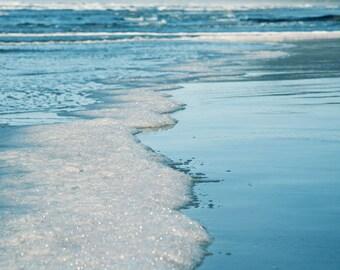 Oregon Beach Photography - Beach Photo - Fine Art Photograph - Water - Ocean - Minimalist Photography - Teal Blue White Beach Cottage Decor