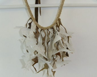 Fiber Art Necklace Feat. Handmade Paper, Leather and Wooden Beads