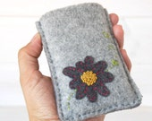 Cozy Iphone Cover - Gray Cover for Iphone/Cell Phone - Handmade Iphone Sleeve - 100% Wool Felt Phone Cover