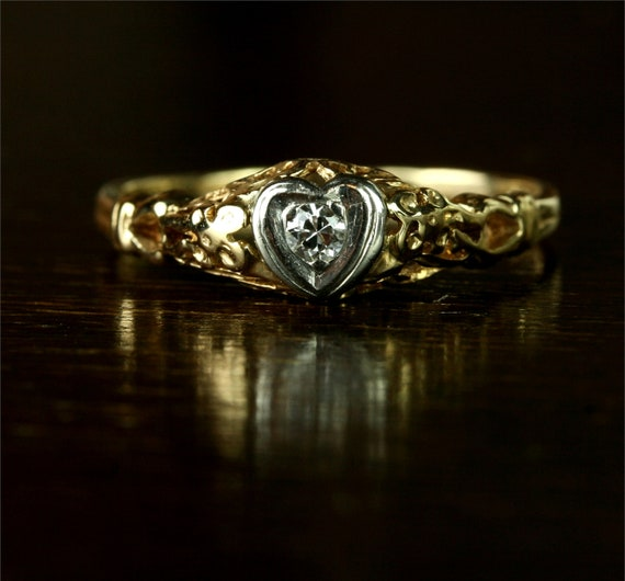 Floral Heart Filigree Diamond Engagement Ring / 14k Yellow and White Gold