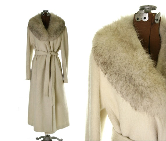 Vintage Long Cashmere Wrap Coat / Cream with Fox fur Collar S M L