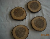 Wood Coasters from Tree Slices- Set of 4