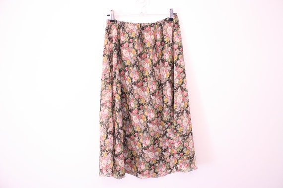Floaty Semi Sheer 90s Grungy Floral Midi Skirt