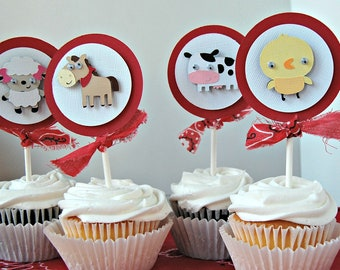Farm Themed Birthday Party Cupcake Toppers, Barnyard Animals Party Decorations (set of 12)