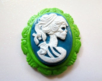 Skeleton Lady Cameo Pendant OR Brooch