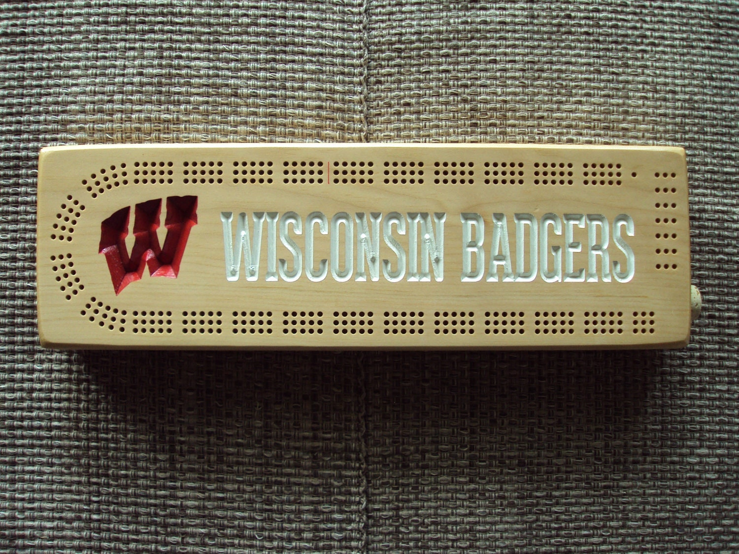 Rustic Cribbage Board Wisconsin Badgers W