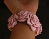 Large Pink Rose Flower Stretch Bracelet