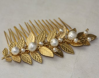 Greek branch gold and pearls  hair comb, Long Leaf Comb, Branch Bridal Comb, Pearl Comb,Wedding Gold Hair Comb, Branches and Leaves Comb