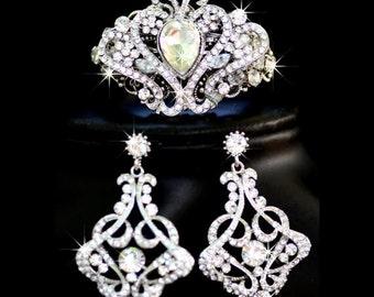 wedding  earrings -chandelier bridal,  bridal cuff bracelet, Bridal set, Bridal Jewelry, Wedding Set, Swarovski Crystal, (La Princessa)