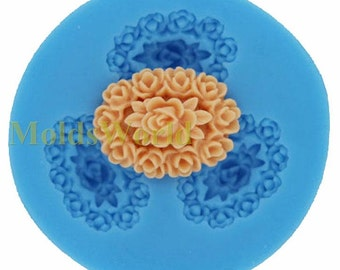 A075 Flower Cabochon 3 Cavity Flexible Silicone Mold Mould for Crafts, Jewelry, Scrapbooking,  (resin, Utee, pmc, polymer clay)