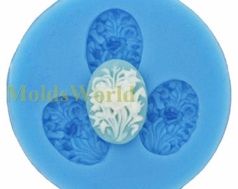 A148 Mini Flower Grass Cabochon 3 Cavities Flexible Silicone Mold Mould for Crafts, Jewelry, Scrapbooking,  (resin, pmc, polymer clay)