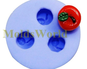 A169 Silicone Mold 3D Apple 3 Cavities Flexible Mould for Polymer Clay Resin Candy Fimo Super Sculpey Crafts Jewelry