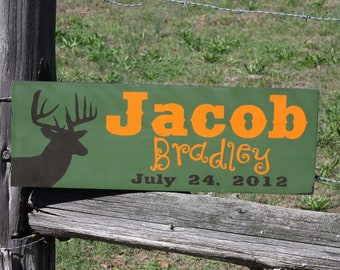 Baby Name sign. Deer, Baby announcement, newborn sign, personalized sign, kids room