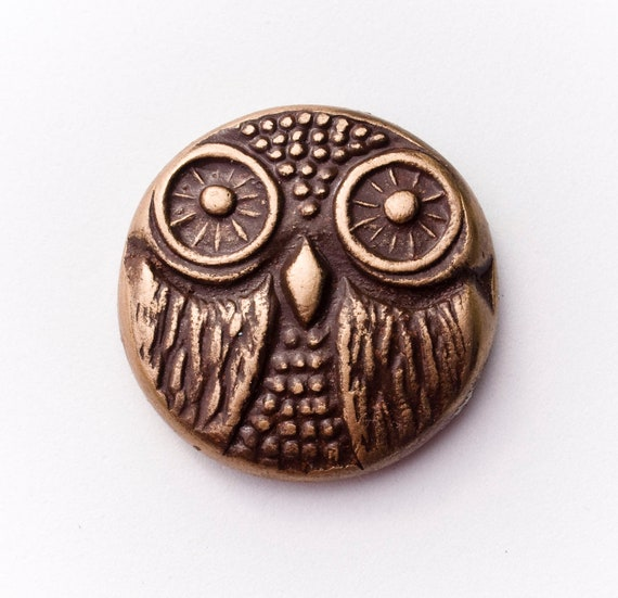 Owl Face Brown and Gold Polymer Clay Cabachon Pendant