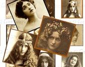 Vintage Inchies Art Nouveau Belle Epoque Digital Ladies 1x1 Squares, Scrabble Tiles, Jewelry, Charms, Scrapbook, Altered Art