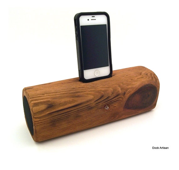 Portable Reclaimed Redwood iPhone 4 Speaker Dock