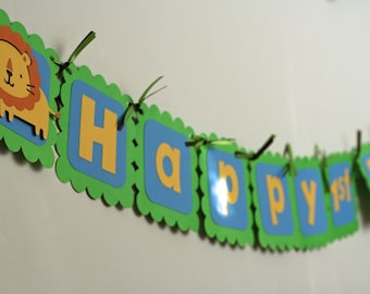 Jungle Safari Zoo Animal Happy Birthday Banner Lime Green and Blue