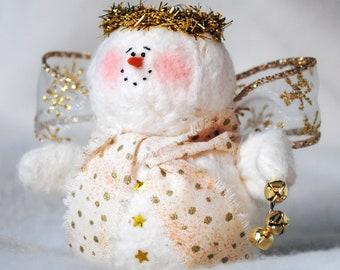 Gold Snowman Angel Ornament