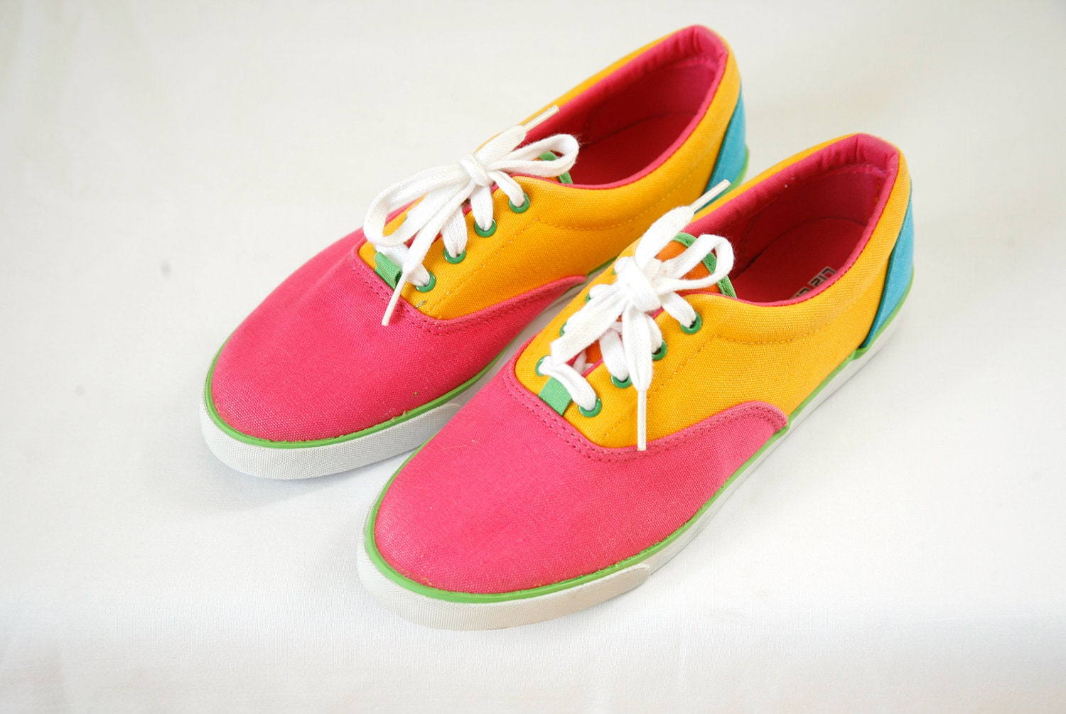 neon colorblock sneakers canvas vintage 80s size by