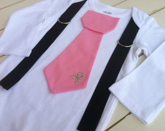 Baby boys Pink tie onesie-Breast Cancer Awareness - Onesie Size NB to 5years- Design Your Own
