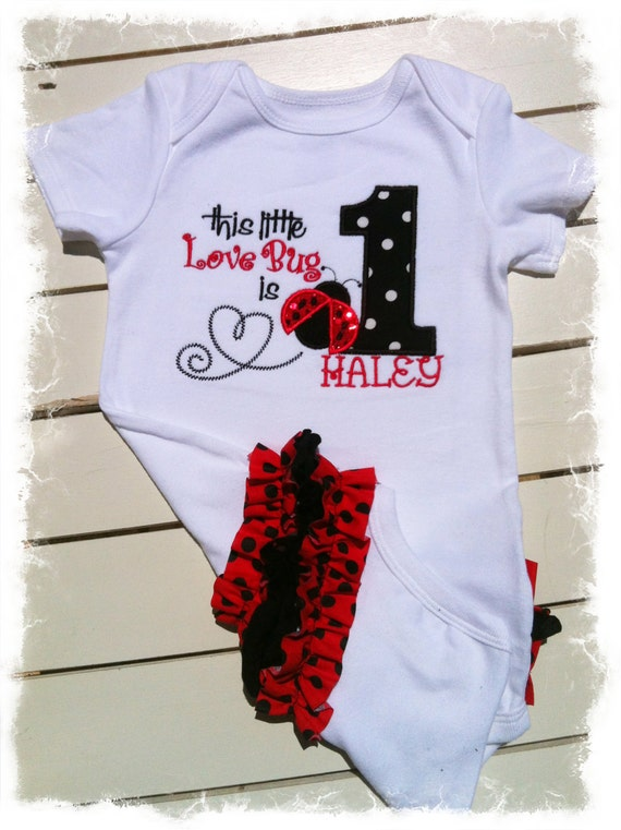 foto de Girls 1st BIRTHDAY LADYBUG OUTFIT with Name by BetterThanBows
