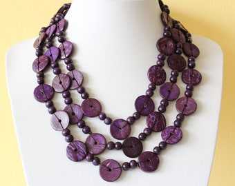 Ethnic African Coconut Shell Necklace. Summer Fashion. Handmade. Extra Long Lariat. Purple Color Necklace. CN05. MapenziGems