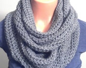 Unisex Crochet Grey Infinity Scarf