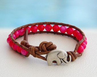 Think Pink... and Good Luck Leather wrap bracelet... Original OceanBead style.