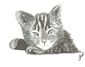 ACEO // Original Art Card of SLEEPING KITTY //  a print of an original india ink drawing