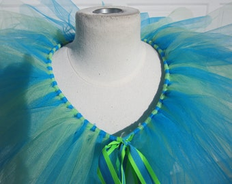 Upcycled Steampunk Clothing, Turquoise Tulle Cape, Absolem Caterpillar Costume, Alice in Wonderland, Turquoise and Lime Green Tutu